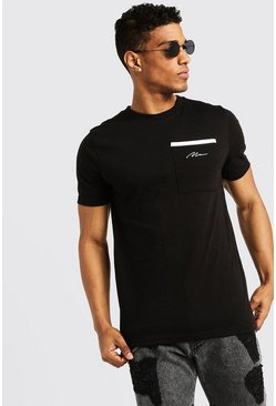Mens Black MAN Signature Pocket T-Shirt