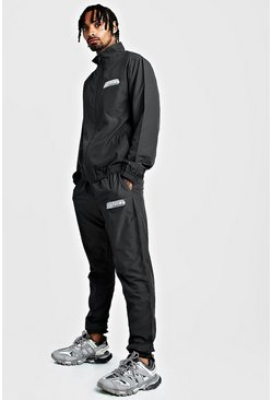 Charcoal MAN Funnel Neck Regular Fit Shell Tracksuit