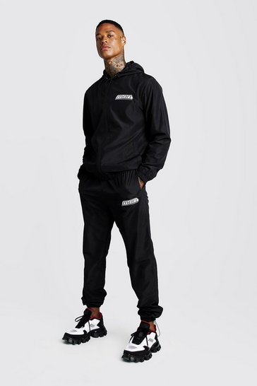 Mens Black MAN Zip Through Shell Tracksuit With Bungee Cords
