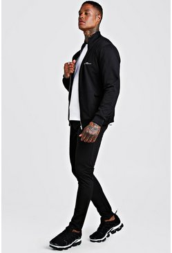 Black Tricot MAN Funnel Neck Skinny Fit Tracksuit