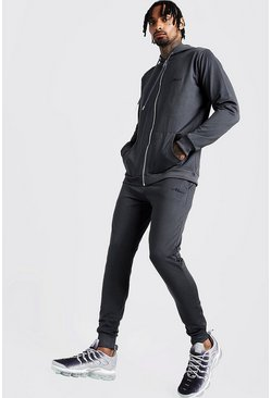Mens Charcoal Tricot MAN Zip Through Skinny Fit Tracksuit