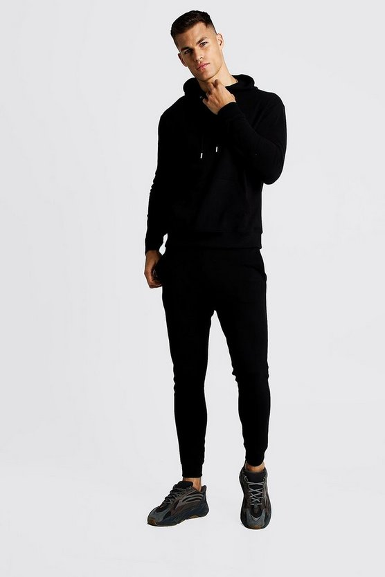 Black Pique MAN Hooded Skinny Fit Tracksuit