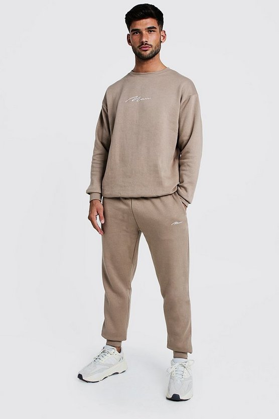 Taupe MAN Loose Fit Sweater Tracksuit