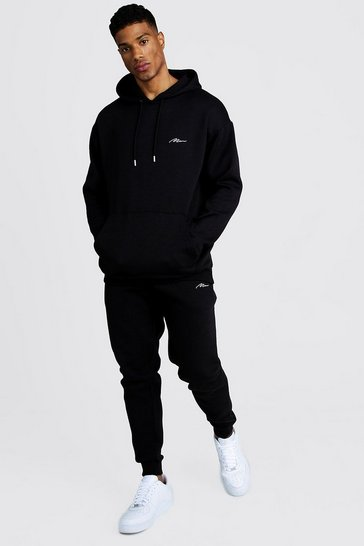 Black MAN Loose Fit Hooded Tracksuit