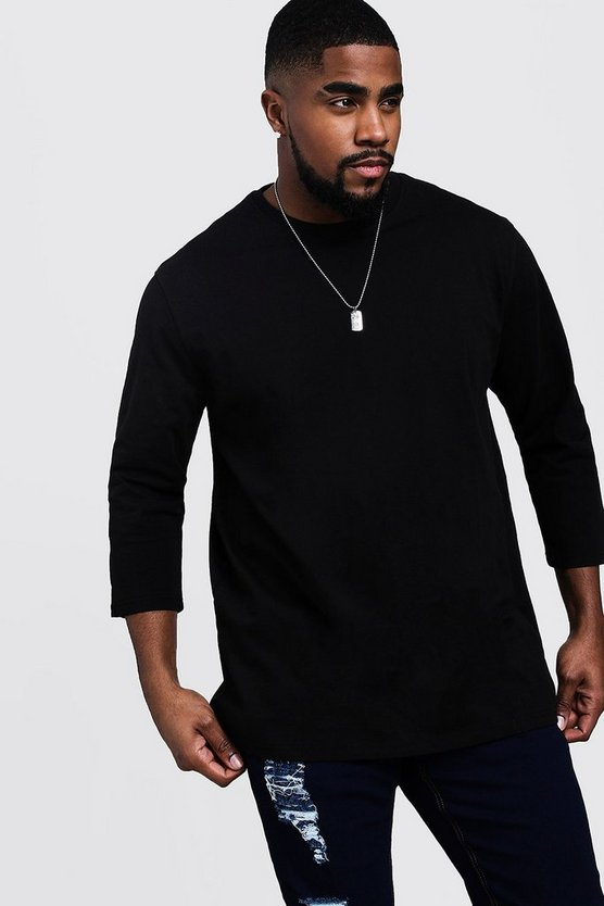 Mens Black Big & Tall Longline 3/4 Sleeve T-Shirt