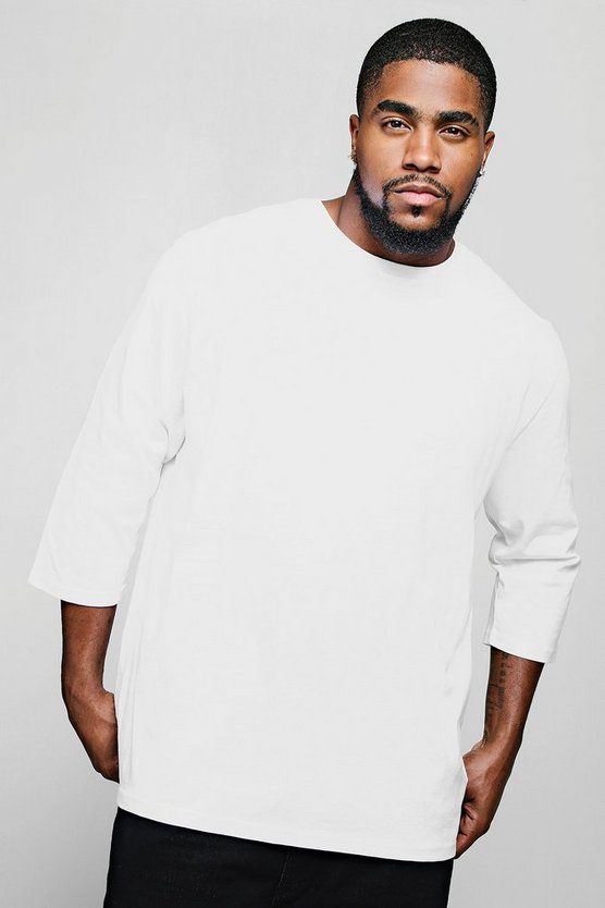 Big & Tall Longline 3/4 Sleeve T-Shirt