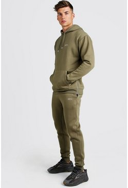 Mens Khaki MAN Longline Skinny Fit Tracksuit with Side Zips