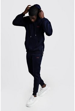 Navy MAN Longline Slim Fit Zip Through Tracksuit