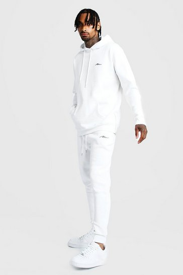 Mens White MAN Longline Slim Fit Tracksuit with Side Zips