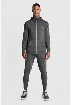Mens Charcoal Man Muscle Fit Zip Thru Bungee Cord Tracksuit