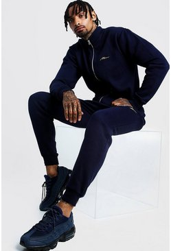 Mens Navy MAN Funnel Neck Slim Fit Tracksuit
