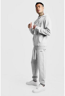 Mens Grey MAN Slim Fit Tracksuit With Long Drawcords