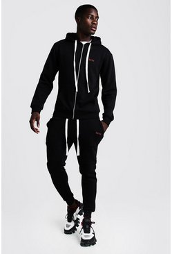 Black MAN Skinny Fit Tracksuit With Long Drawcords