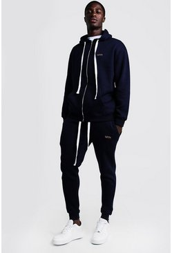 Navy MAN Skinny Fit Tracksuit With Long Drawcords