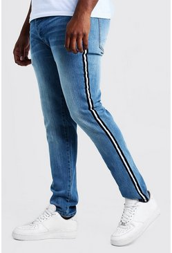 Washed blue Big & Tall Skinny Fit Jeans With Side Tape