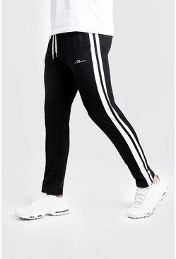 Herr Black Slim Fit MAN Signature Joggers With Side Stripes