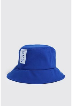 Mens White MAN Colour Block Bucket Hat