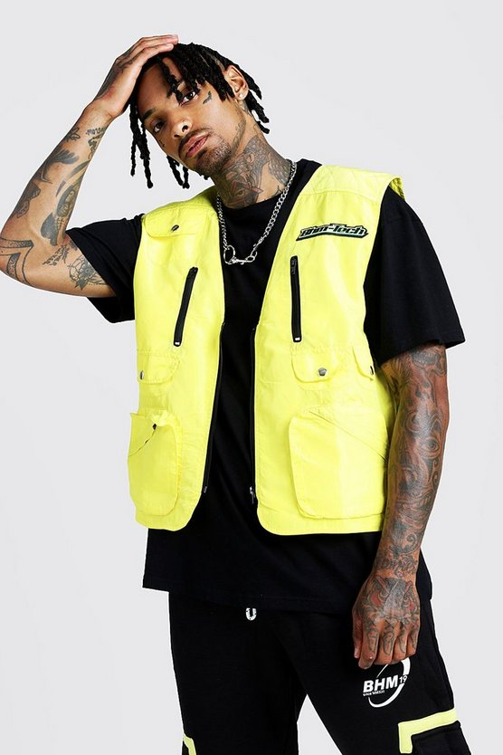 Mens Neon-yellow MAN Utility Vest With Rubber Branding