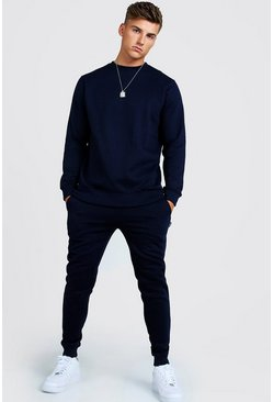 Survêtement sweat skinny long, Marine, Homme
