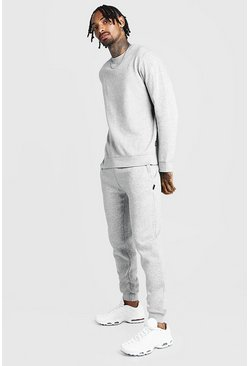 Grey Slim Fit Sweater Tracksuit