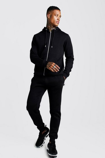 Mens Black Zip Through Slim Fit Tracksuit