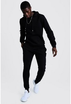 Black Over The Head Hooded Skinny Fit Tracksuit