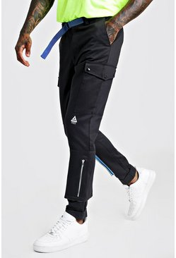 Black Skinny Fit Cargo Trouser With Colour Pop Pocket