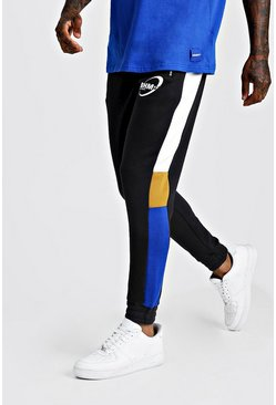 Mens Black MAN Jersey Colour Block Side Panel Joggers