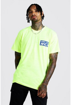 Herr Neon-yellow MAN Loose Fit T-Shirt With Print
