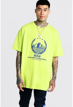 Herr Neon-yellow MAN Oversized T-Shirt With Print & Tab
