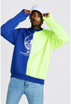 Mens Neon MAN Oversized Spliced Sweater With Print