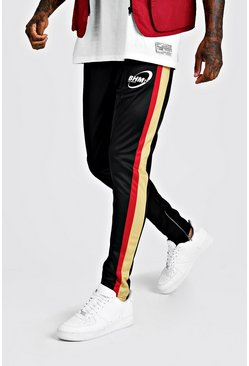 Mens Black Skinny Fit Tricot Side Panel Jogger With Print