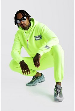 Mens Neon-yellow MAN Loose Fit Hoodie & Skinny Fit Joggers