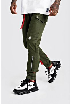 Khaki Skinny Fit Cargo Trouser With Colour Pop Pocket