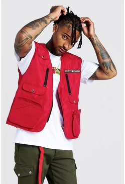 Mens Red MAN Utility Vest With Rubber Branding