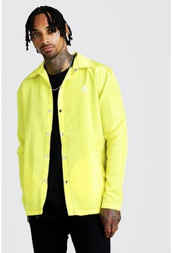 Mens Neon-yellow MAN Coach Jacket With Topstitching