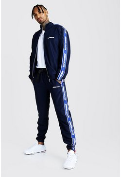 Navy MAN Shell Track Top And Jogger Set