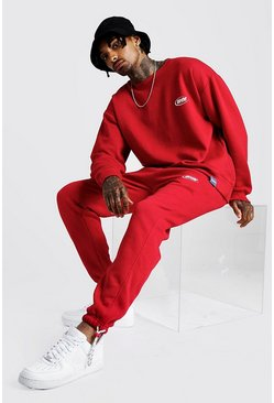 Mens Red MAN Loose Fit Sweatshirt & Slim Fit Jogger