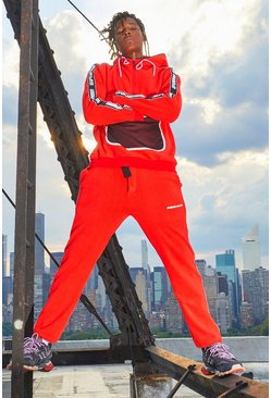 Herr Red MAN Polar Fleece Side Tape Jogger With Embroidery