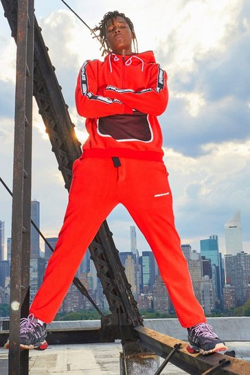 Mens Red MAN Polar Fleece Side Tape Jogger With Embroidery