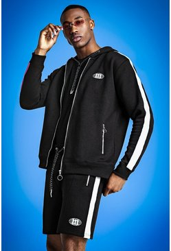 MIST Short Tracksuit With Reflective Print, Black, HOMMES