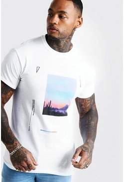 Mens White Graphic Print T-Shirt