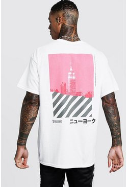 Oversized Front And Back New York T-Shirt, White, HERREN