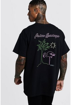 Oversized Palm Springs Front & Back Print T-Shirt, Black, HOMBRE