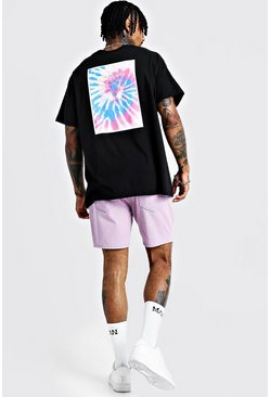 Oversized T-Shirt in Batik-Optik mit Easy Living-Grafik, Schwarz, Herren