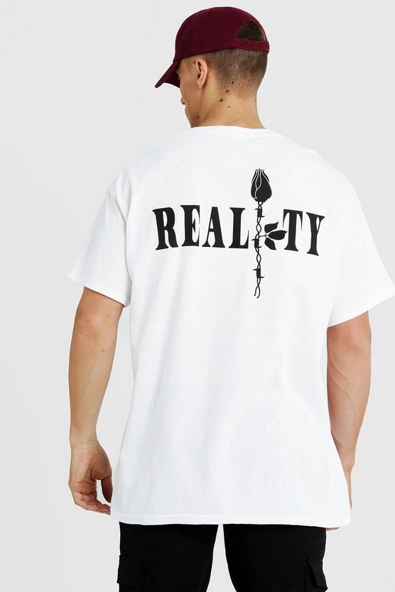 Mens White Oversized Reality Rose Front & Back Print T-Shirt