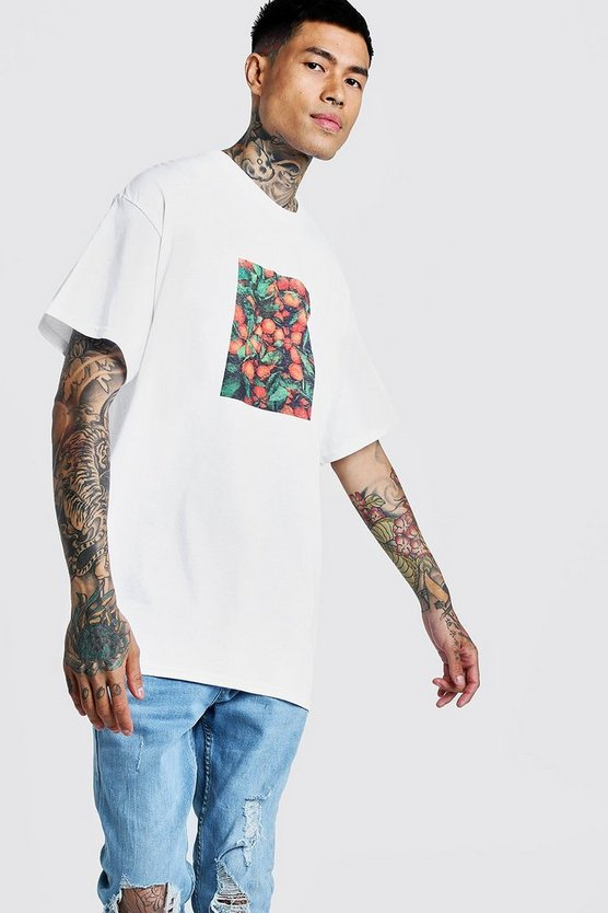 White Oversized Orange Graphic Front Print T-Shirt