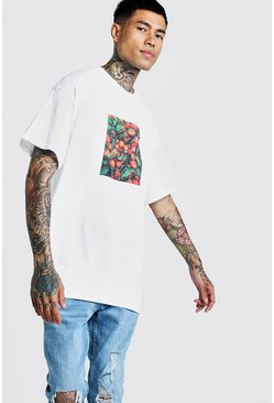 Oversized Orange Graphic Front Print T-Shirt, White, HOMMES