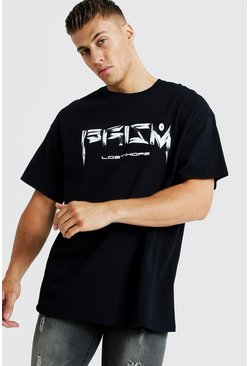 Mens Black Oversized Prism Front Print T-Shirt