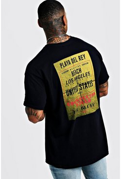Mens Black Oversized Back Print LA Beach T-Shirt